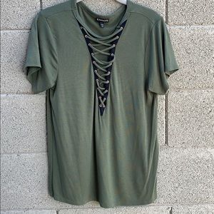 Express Olive Green Criss Cross Front Top
